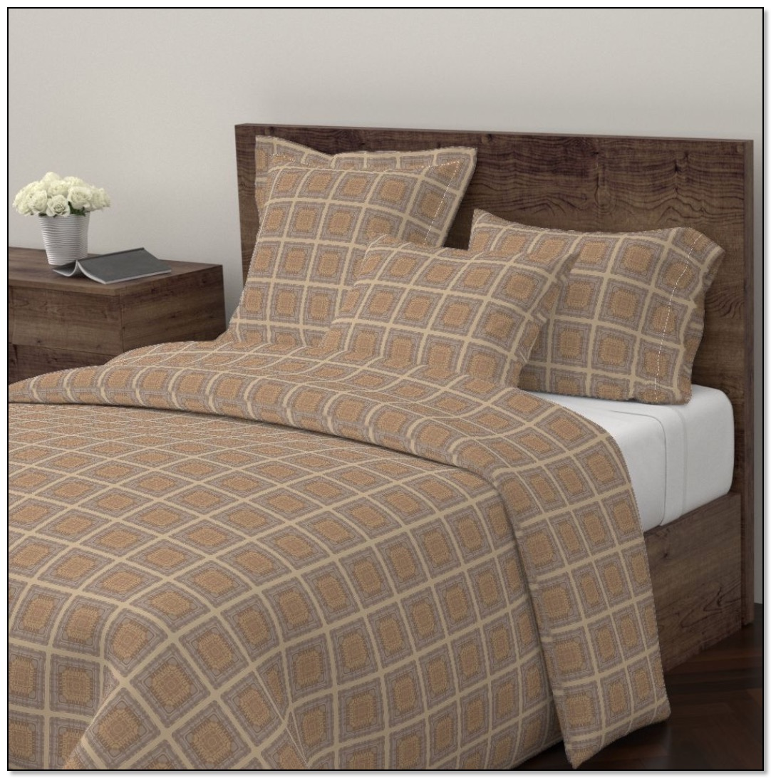 Brown Windowpane style bedding from Don's collection at Gingezel Roostery.
