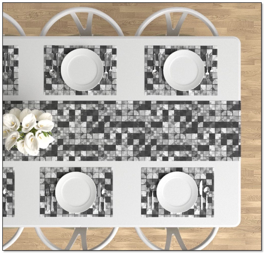 black and white tileed table linens by Gingezel at Roostery