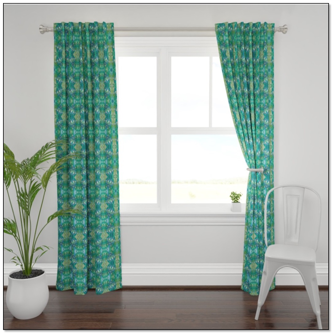 Green fractal bubble curtains by Gingezel at Roostery